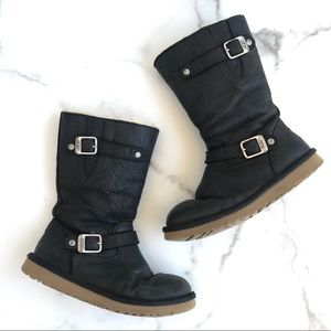 Uggs black buckle lined boots